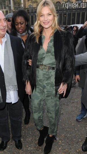 Кейт Мосс на показе бренда Topshop Unique
