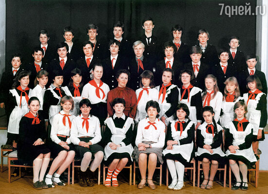 Седьмой класс. Кристина — в первом ряду, вторая слева. 1985 год