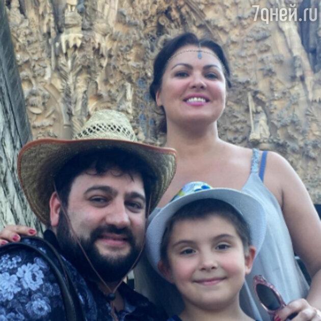 Анна Нетребко с мужем и сыном