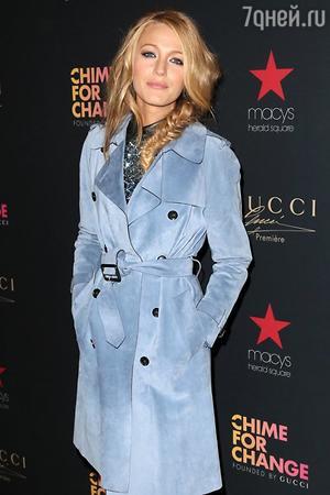 Блейк Лайвли в наряде от Gucci на презентации новой рекламной кампании Gucci
