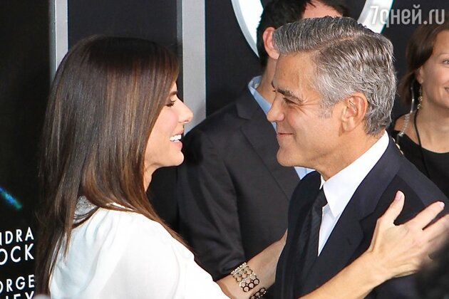 "Сандра Буллок  (Sandra Bullock) и Джордж Клуни (George Clooney) на премьере фильма ""Гравитация"""