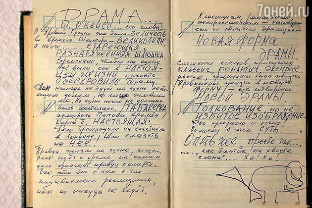 Страница из дневника Олега Даля