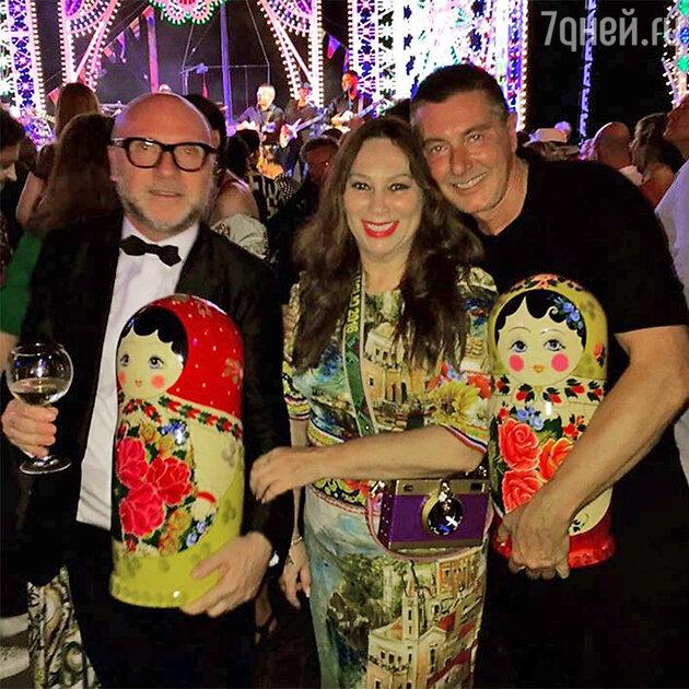 Алла Вербер со Стефано Габбана и Доменико Дольче на шоу Alta Moda
