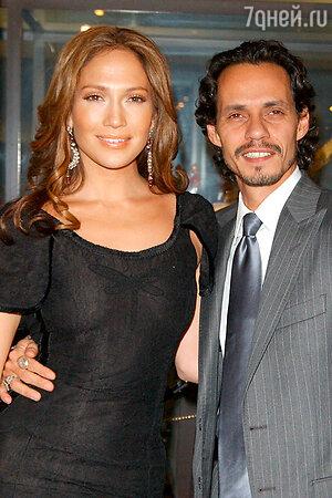 С нынешним (третьим по счету) мужем Марком Энтони. Апрель 2005 г. Майами