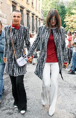 С сестрой Розитой наНеделе моды вМилане. 2012 г.