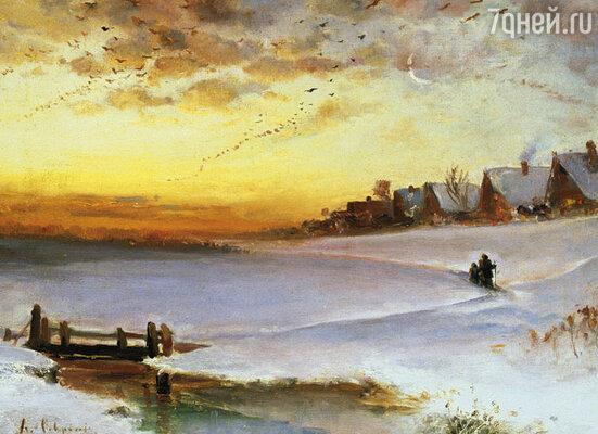 Саврасов бесконечно писал зимние, осенние и весенние пейзажи. В продаже они шли бойко, хотя он сам получал за картины копейки. Репродукция картины «Зимний пейзаж. (Оттепель)», 1890-е годы