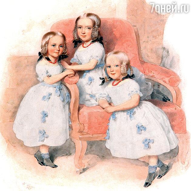 Фото репродукции портрета дочерей барона и баронессы Геккерн: Леони, Матильды, Берты работы Л. Фишера. 1843 г.