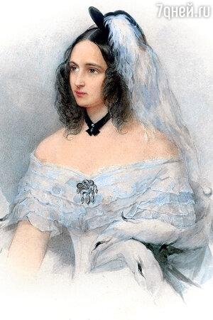 Фото репродукции портрета Натальи Николаевны Пушкиной работы В. Гау. 1843 г.