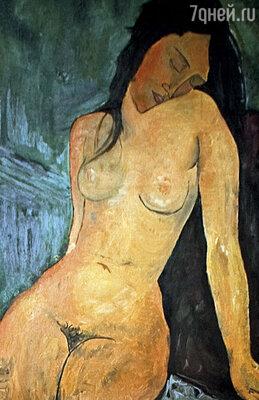 Теща нарисовала копию  с моего любимого портрета Модильяни. Эта женщина похожа на Иру