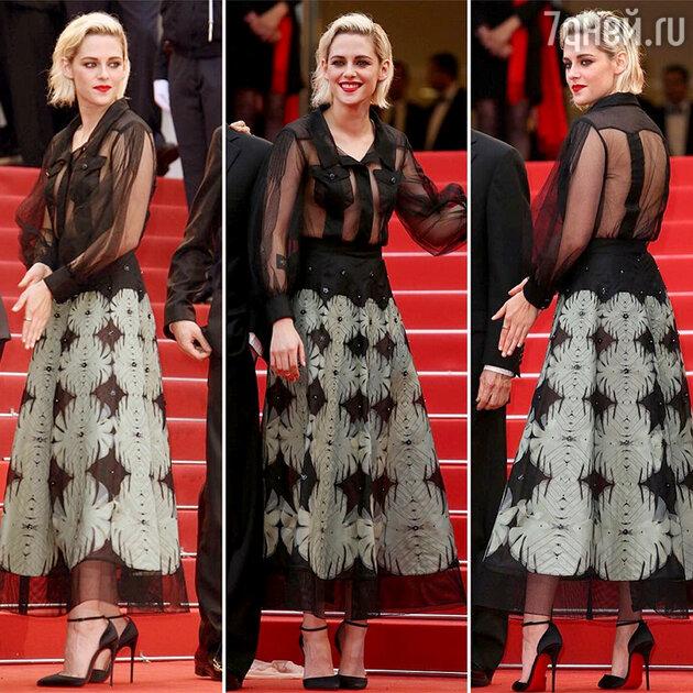 Кристен Стюарт в юбке и прозрачной блузке от Chanel на открытии Каннского фестиваля