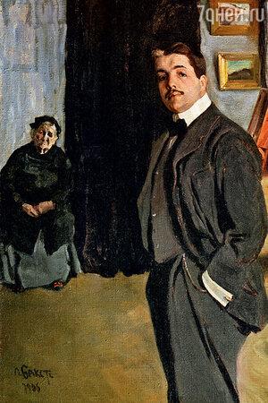 Фото репродукции портрета С.П. Дягилева с няней работы Л. Бакста, 1906 г.