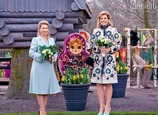 Первая леди России Светлана Медведева и голландская принцесса Максима на открытии парка в марте этого года