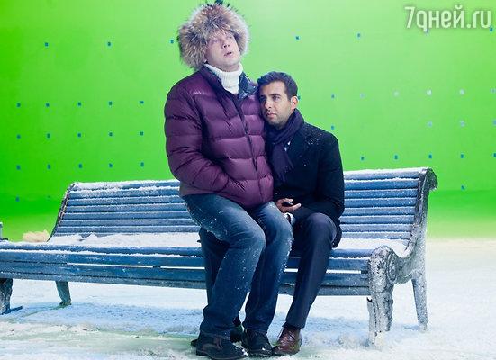 Сергей Светлаков и Иван Ургант на съемках комедии «Елки 2»