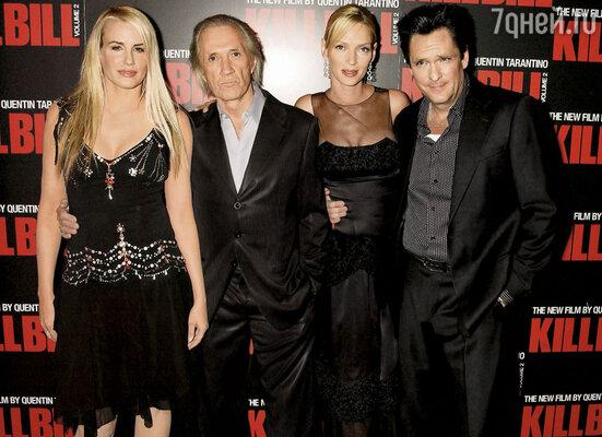 Из длинной череды своих фильмов Майкл выделяет тарантиновскую сагу «Убить Билла».  Дэрил Ханна, Дэвид Кэррадайн, Ума Турман и Майкл Мэдсен на премьере «Убить Билла 2» в Лондоне, 2004 г.