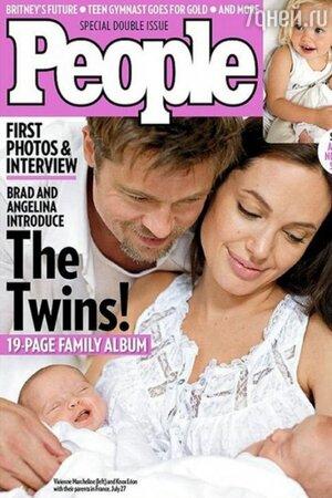 Брэд Питт и Анджелина Джоли с близнецами  Ноксом и Вивьен . People,  2008 г.