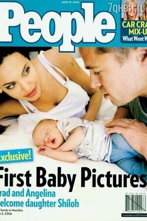 Брэд Питт и Анджелина Джоли с дочкой Шайло. People,  2006 г.