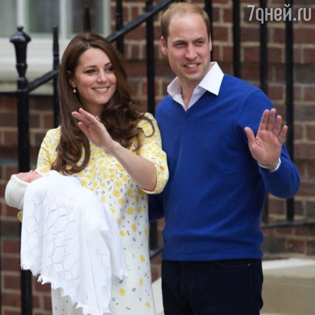 Кейт Миддлтон и принц Уильям с дочерью