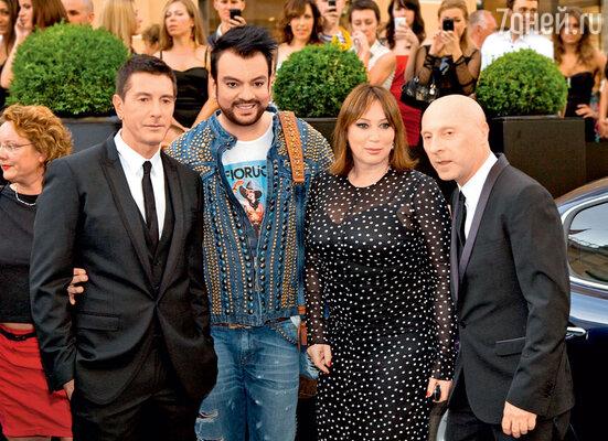 Со Стефано Габбаной, Доменико Дольче и Филиппом Киркоровым наоткрытии бутика «Dolce&Gabbana» вМоскве. 2010 г.