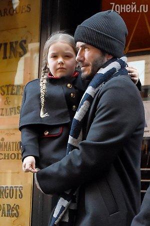 Дэвид Бекхэм с дочерью