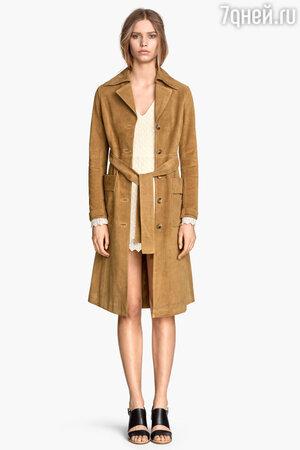 Замшевое пальто H&M
