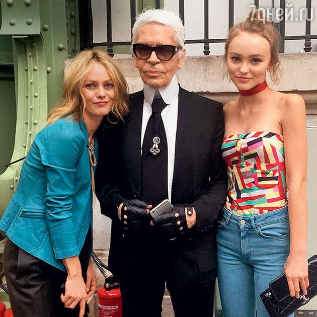 Ванесса с Карлом Лагерфельдом и дочкой Лили-Роуз