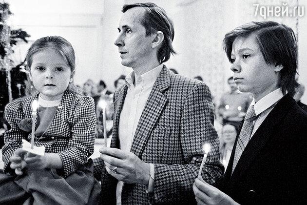 Николай Бурляев с дочкой Машей и сыном Иваном, 1992 год
