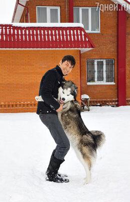Владимир Политов у своего дома с Лораном - любимой собакой породы хаски