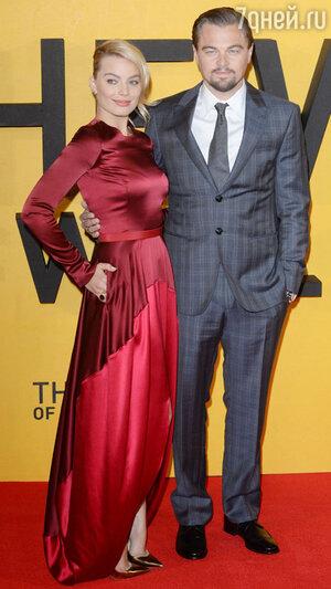 Леонардо Ди Каприо и Марго Робби  на премьере фильма  «Волк с Уолл-стрит»