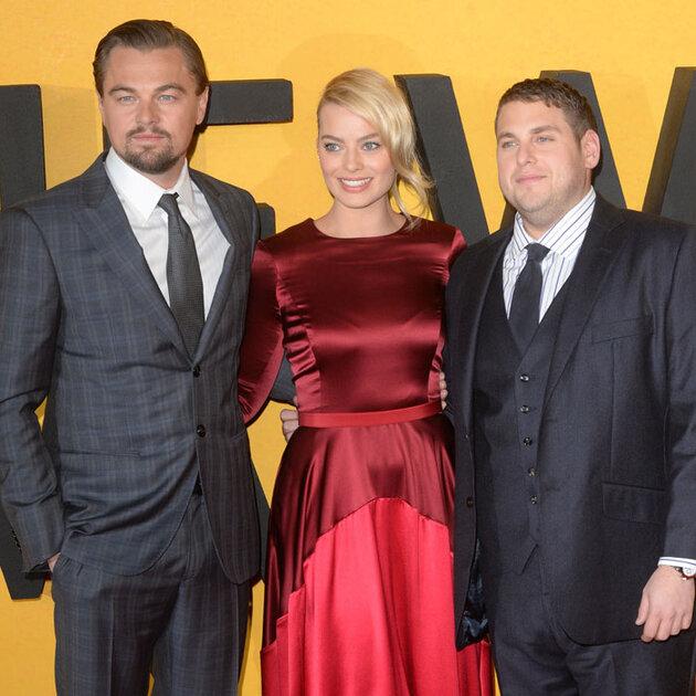 Леонардо Ди Каприо, Марго Робби и Джона Хилл на премьере фильма  «Волк с Уолл-стрит»