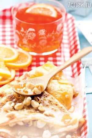 Бисквитные блины с медово-ореховой начинкой