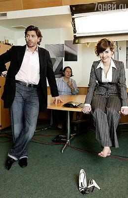 Наталия Орейро и Валерий Николаев на съемках сериала «В ритме танго»