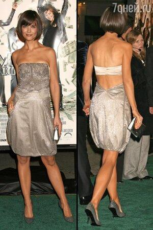 Кэти Холмс в наряде от Giorgio Armani на премьере фильма «Шальные деньги» в 2008 году