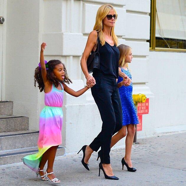 Хайди Клум с дочками, 4-летней Лу и 10-летней Хелен