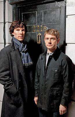 Финальные эпизоды первого сезона «Шерлока» собрали рекордное количество зрителей — почти восемь миллионов! На фото: Бенедикт Камбербэтч со своим партнером по сериалу Мартином Фрименом