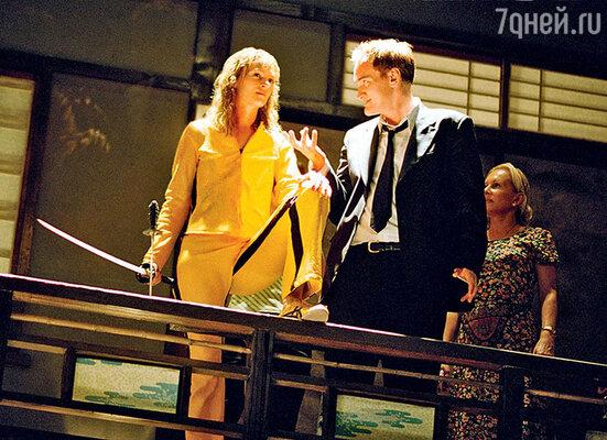 Ума Турман и Квентин Тарантино на съемках фильма «Убить Билла-2». 2004 г.