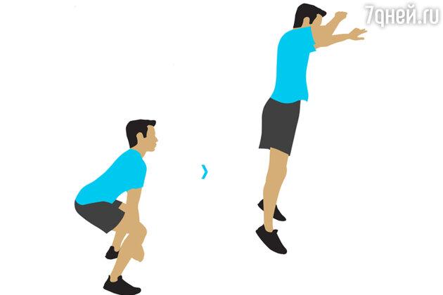 Упражнение № 2. Приседания с выпрыгиванием
