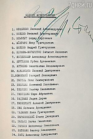 Список арестованных