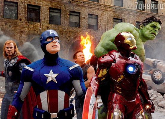 Супергерои Мстители спасают мир (Скарлетт Йоханссон, КрисХемсворт, КрисЭванс, Джереми Реннер, Роберт Дауни-младший и Марк Руффало)