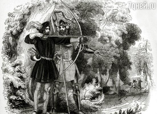 Гравюра, приблизительно 1200 год, Робин Гуд и Маленький Джон