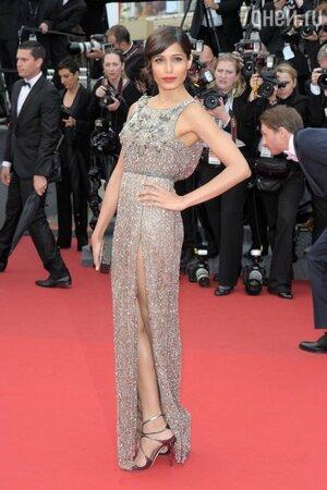Фрида Пинто в платье от Sanchita на премьере картины «Молода и прекрасна» в 2013 году