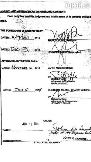 Подписи Дженнифер Лопес и Марка Энтони под соглашением о разводе