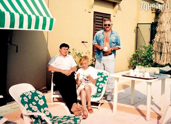 Я с женой и Михалков в Риме, 1989 год