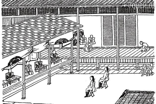 Кодаю явился во дворец сёгуна в невиданном одеянии: камзоле, коротких штанах и башмаках с пряжками.