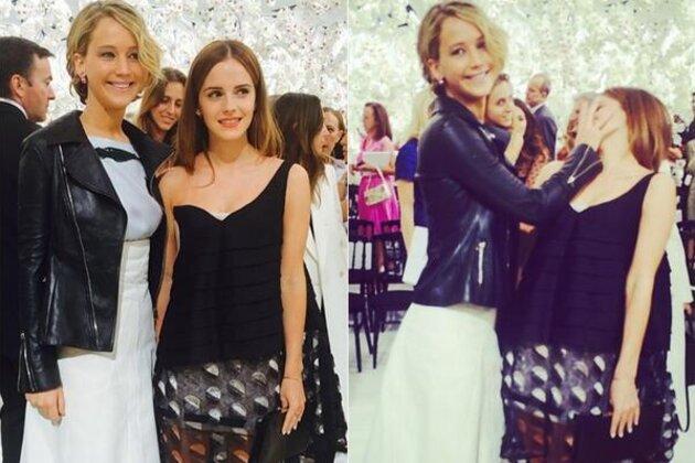 Дженнифер Лоуренс и Эмму Уотсон на показе Dior
