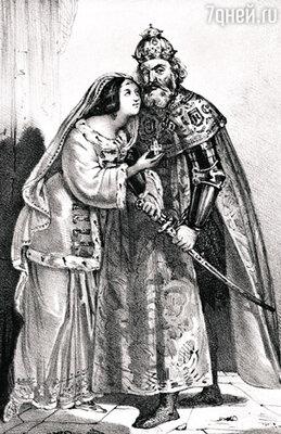 Всего у Ивана, по разным подсчетам, было от шести до восьми жен. Первая из них, царица Анастасия, была женщиной кроткой. Считается, что она благотворно влияла на царя. Гравюра XIX в.