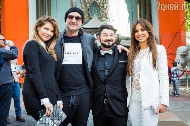 Наталья Бардо, Марюс Вайсберг, Михаил Галустян с женой Викторией