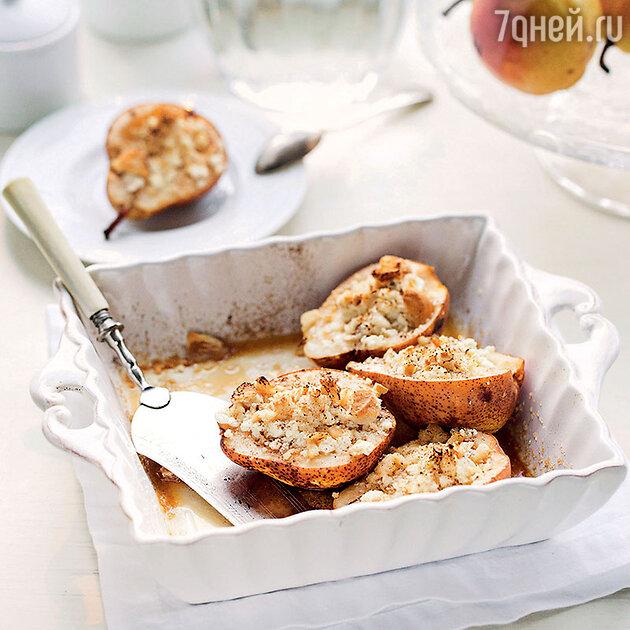 Груши, запеченные с медом и творогом