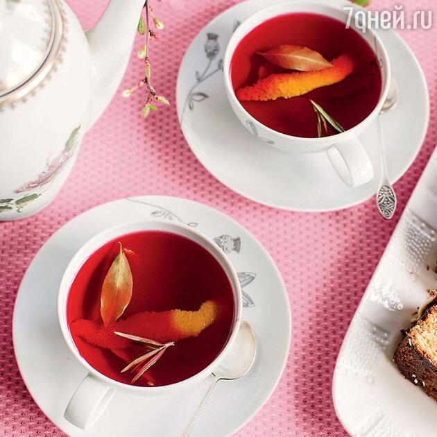 Чай с розмарином, цедрой апельсина и цветочным медом