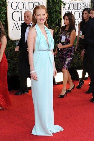 Джессика Честейн в платье от Calvin Klein на церемонии Golden Globe Awards в 2013 году