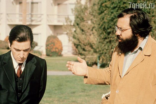 Аль Пачино и Френсиси Форд Коппола на съемках фильма «Крестный отец 2». 1974 г.